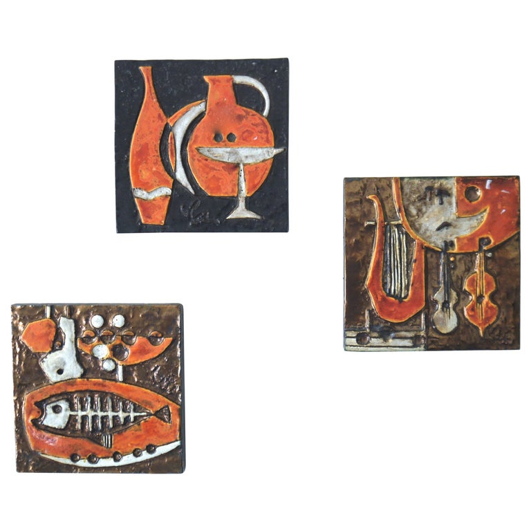 Modernist Ceramic Wall Plaques, Set of Three by Helmut Schaffenacker Late 1950s For Sale