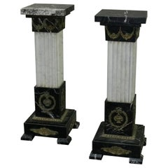 Pair of Oversized Neoclassical Italian Marble and Ormolu Sculpture Pedestals