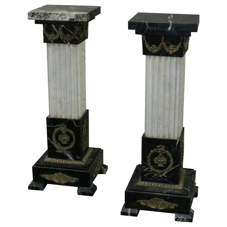 Pair of Oversized Neoclassical Italian Marble and Ormolu Sculpture Pedestals For Sale