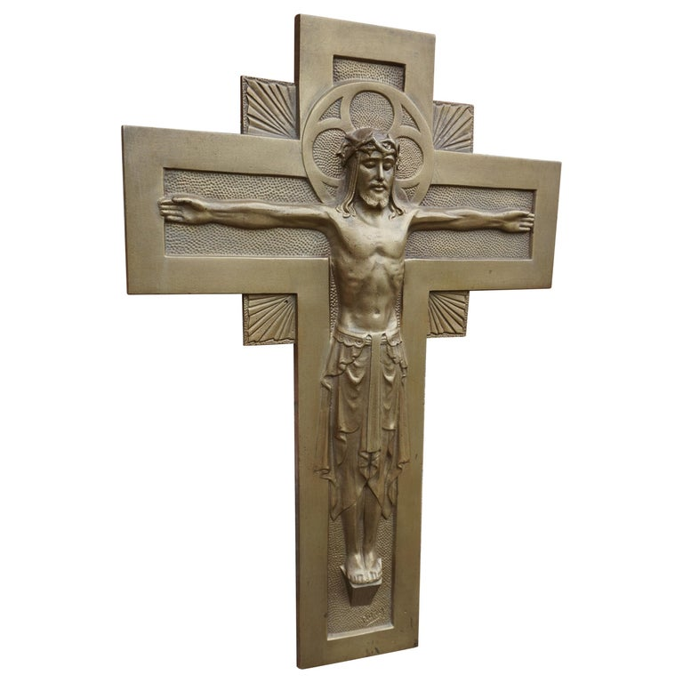 Early 20th Century Gothic Revival Bronze Wall Crucifix by Sculptor Sylvain Norga For Sale