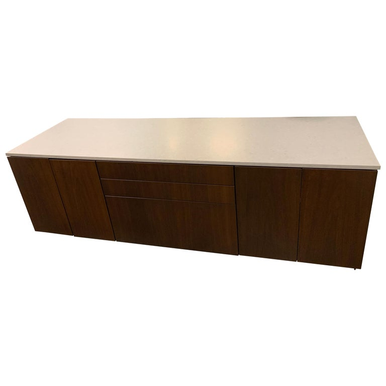 M2L Brand Walnut Chestnut Wood Credenza with Stone top For Sale