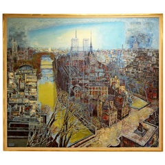 Framed Original Oil Sgraffito Painting Paris Notre Dame by Edouard Mac Avoy 1963