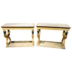Pair of Swedish Paint and Parcel Gilt Carved Lion Head Console or Serving Tables