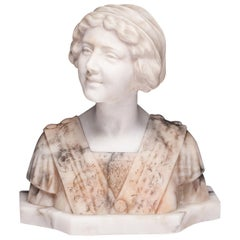 Masterpiece Marble and Alabaster Bust Giovanni Brogi 1853-1919, Italy