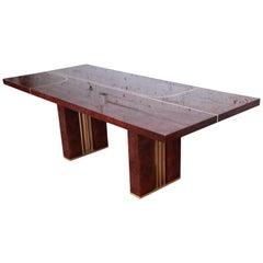 Romeo Rega Italian Burl Wood and Brass Dining Table