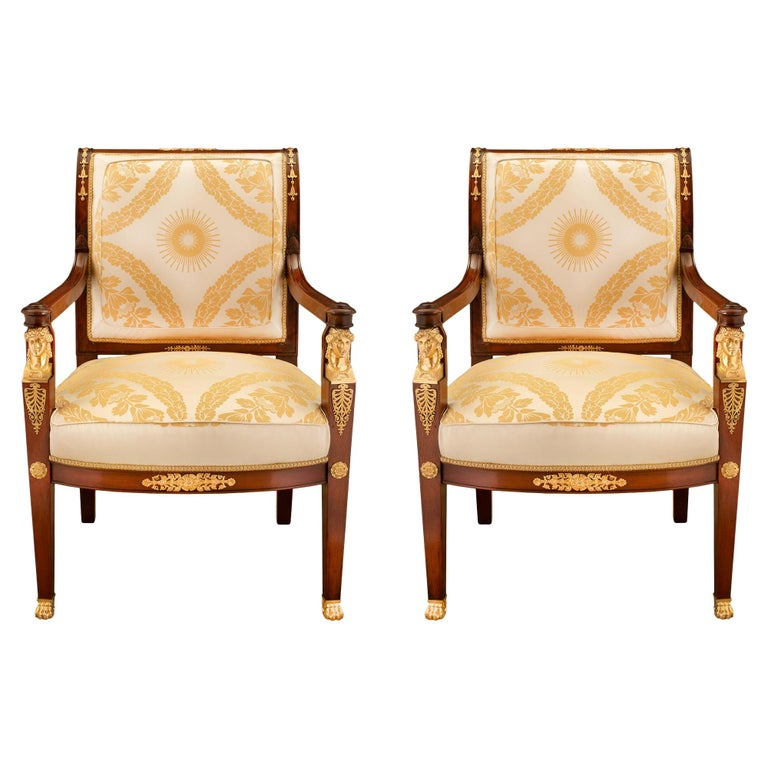 Pair of French Mid-19th Century Empire Style Mahogany and Ormolu Armchairs For Sale