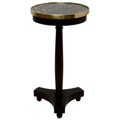French Empire Style Mahogany and Marble Candle Stand Side Table, circa 1840