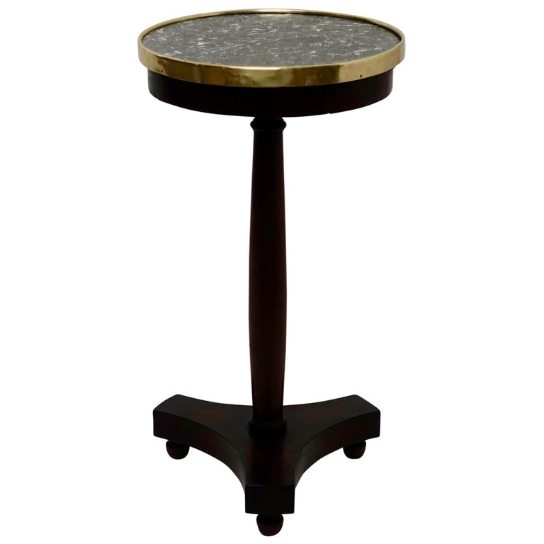 French Empire Style Mahogany and Marble Candle Stand Side Table, circa 1840 For Sale