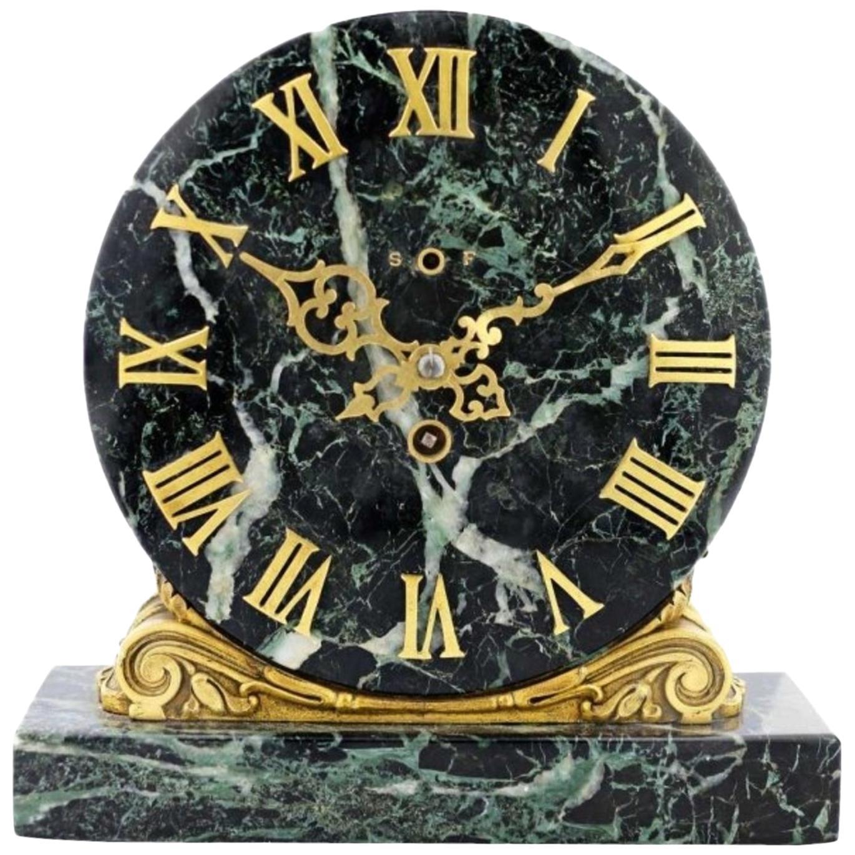 Edward F. Caldwell & Co. Gilt Bronze and Marble Clock