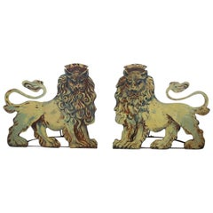 Pair of Fairground or Circus Entrance Lions