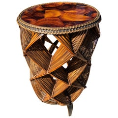 Indoor/Outdoor Reed and Faux Tortoiseshell Top Side Table
