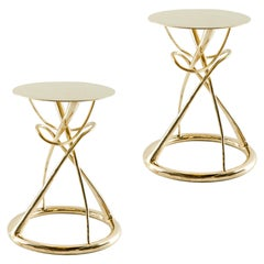 Pair of Brass Gueridon Table, Gordian Node, Misaya
