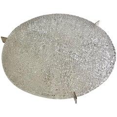 Large Midcentury Flush Mount in Textured Glass by Kaiser Leuchten