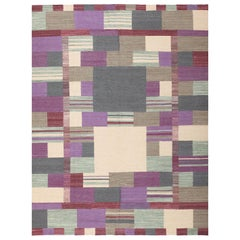 Swedish Scandinavian Style Modern Kilim Rug. Size: 7 ft x 9 ft 1 in