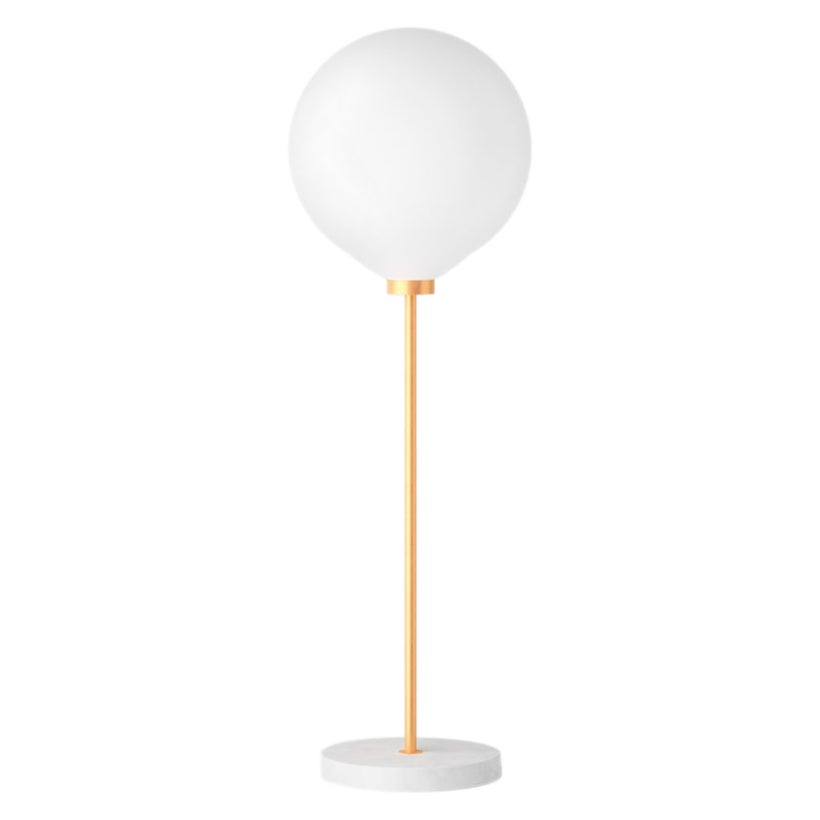 Onis, Contemporary Table Lamp, Brass and Marble 'White'