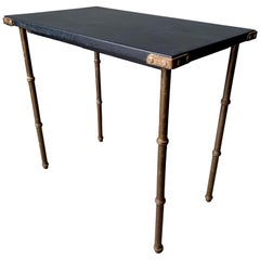 Jacques Adnet Leather and Bronze Side Table