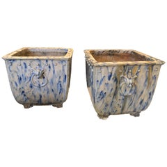 Pair of Blue and White Garden Planters