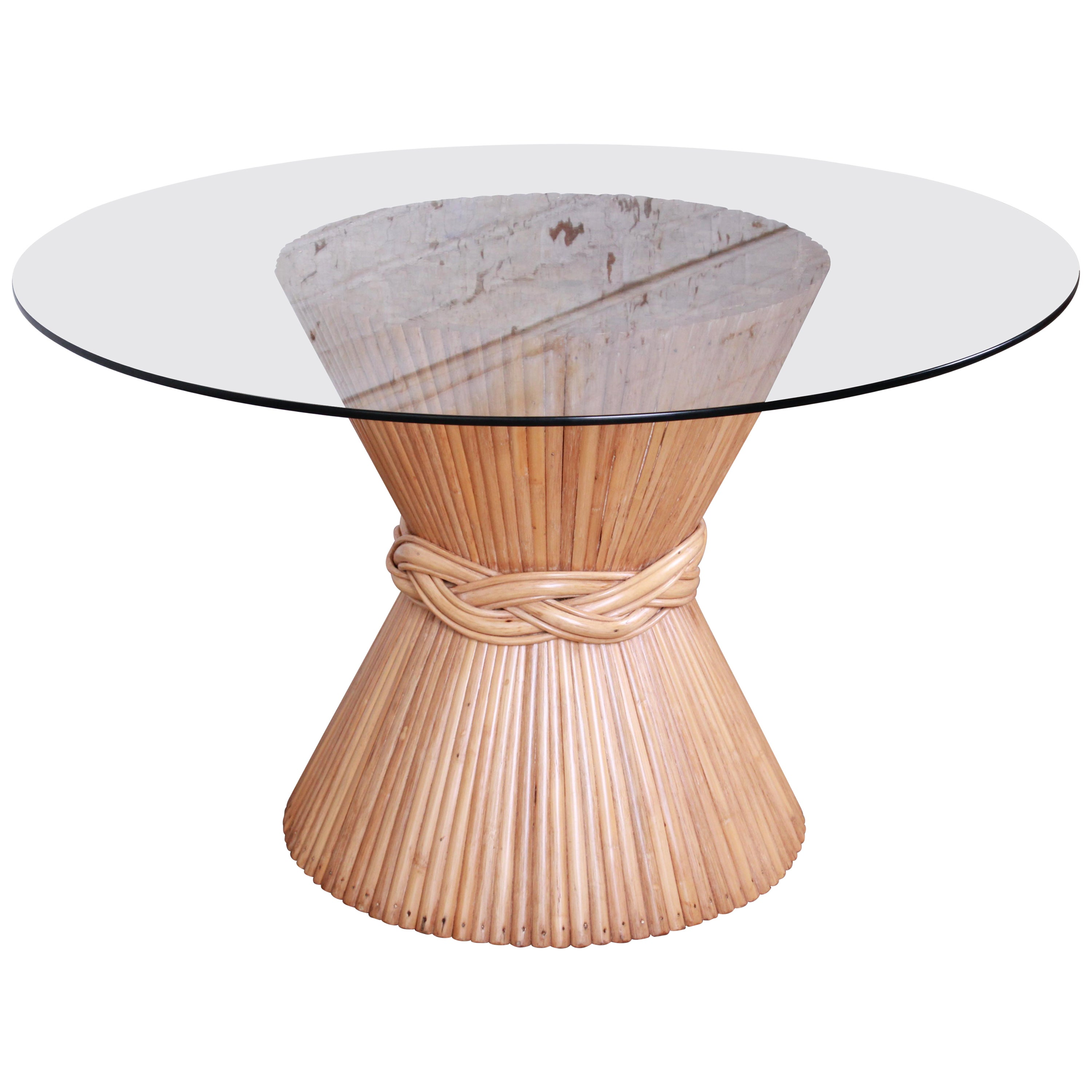McGuire Sheaf of Wheat Bamboo Pedestal Dining Table