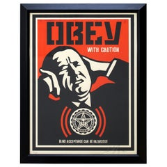 Framed Obey with Caution by Shepard Fairy Obey Giant Screenprint 73/250