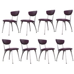 "Set of 8 Shelby Williams Sculptural Aluminum Frame ""Gazelle"" Chairs"