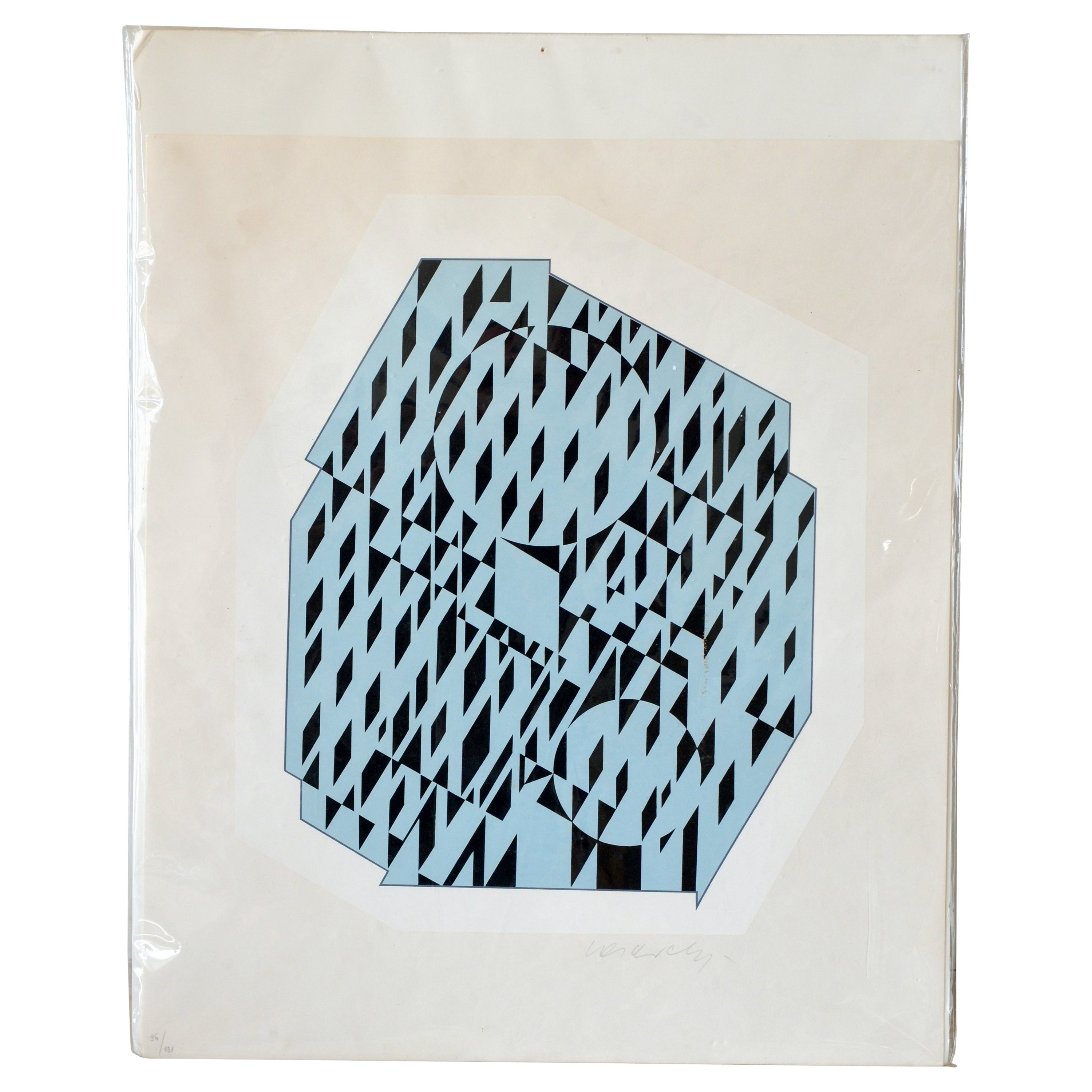Nethe, Signed and Numbered Silkscreen Print by Victor Vasarely
