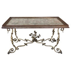 Antique Italian Wrought Iron and Glass Top Coffee Table