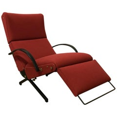 1956, Osvaldo Borsani, P40 Adjustable Lounge Chair in Terra Red Fabric