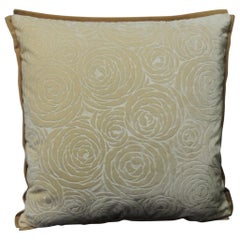 Antique Tone-on-Tone Silk Cut Velvet Deco Floral Petite Decorative Pillow