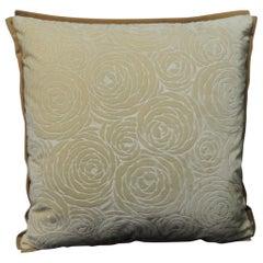 Antique Tone-on-Tone Silk Cut Velvet Deco Floral Petite Decorative Pillow