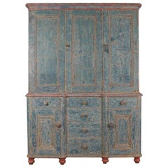 Exceptional 19th Century Original Painted Housekeepers Cupboard