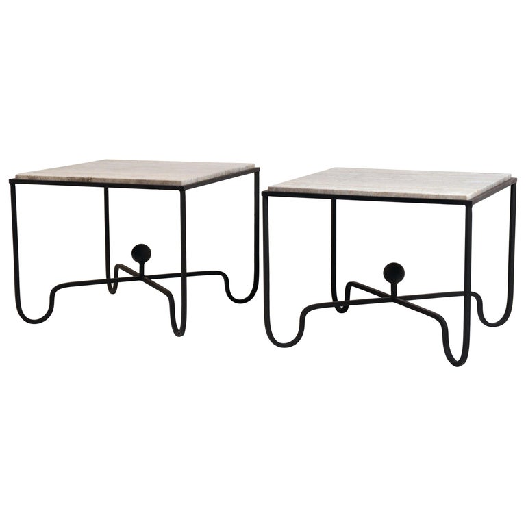 Pair of Large 'Entretoise' Silver Travertine Side Tables by Design Frères For Sale