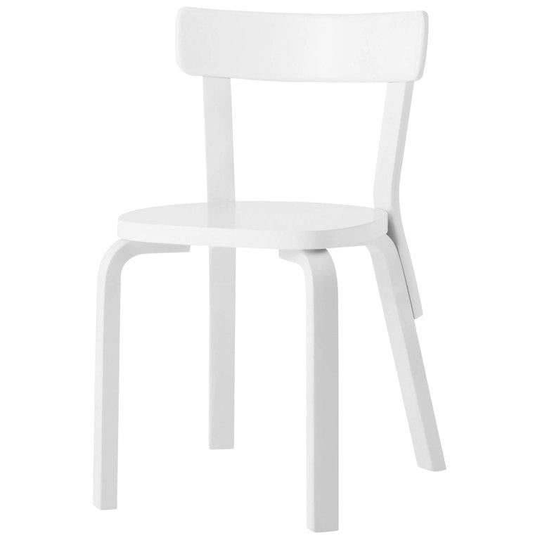 Authentic Chair 69 in Birch with White Lacquer by Alvar Aalto & Artek For Sale