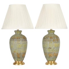 Italian Hollywood Regency Lamps Lava Glazed in Green and Gold Tones