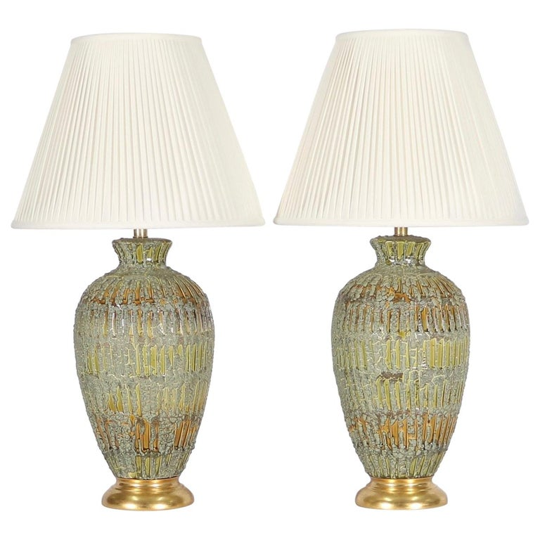 Italian Hollywood Regency Lamps Lava Glazed in Green and Gold Tones For Sale