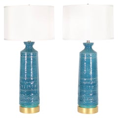 Italian Hollywood Regency Bittossi Style Lamps in Blue & Aqua Glazed Ceramic