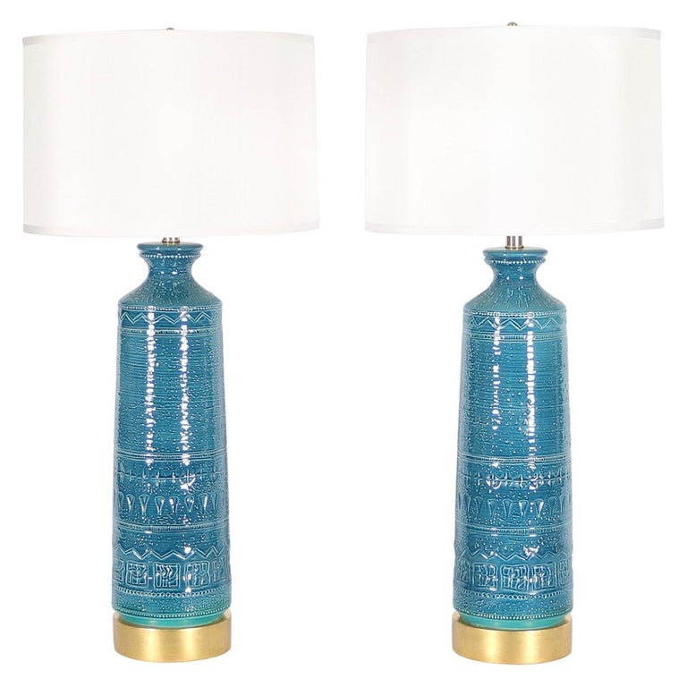 Italian Hollywood Regency Bittossi Style Lamps in Blue & Aqua Glazed Ceramic For Sale