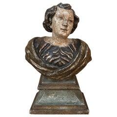 18th Century Italian Polychrome Bust of Saint