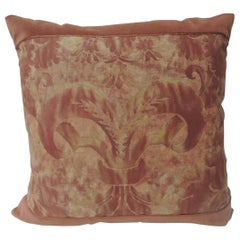 "Vintage Fortuny ""Glicine"" Pattern Red and Silvery Decorative Pillow"