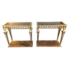 Parcel Paint and Gilt Decorated Pair of Swedish Serving or Console Tables