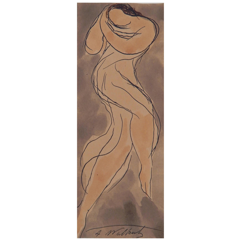 Abraham Walkowitz Delightful Original Watercolor, circa 1920s, Isadora Duncan