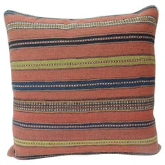 Vintage Colorful Turkish Stripes Woven Square Grain Sack Decorative Pillow