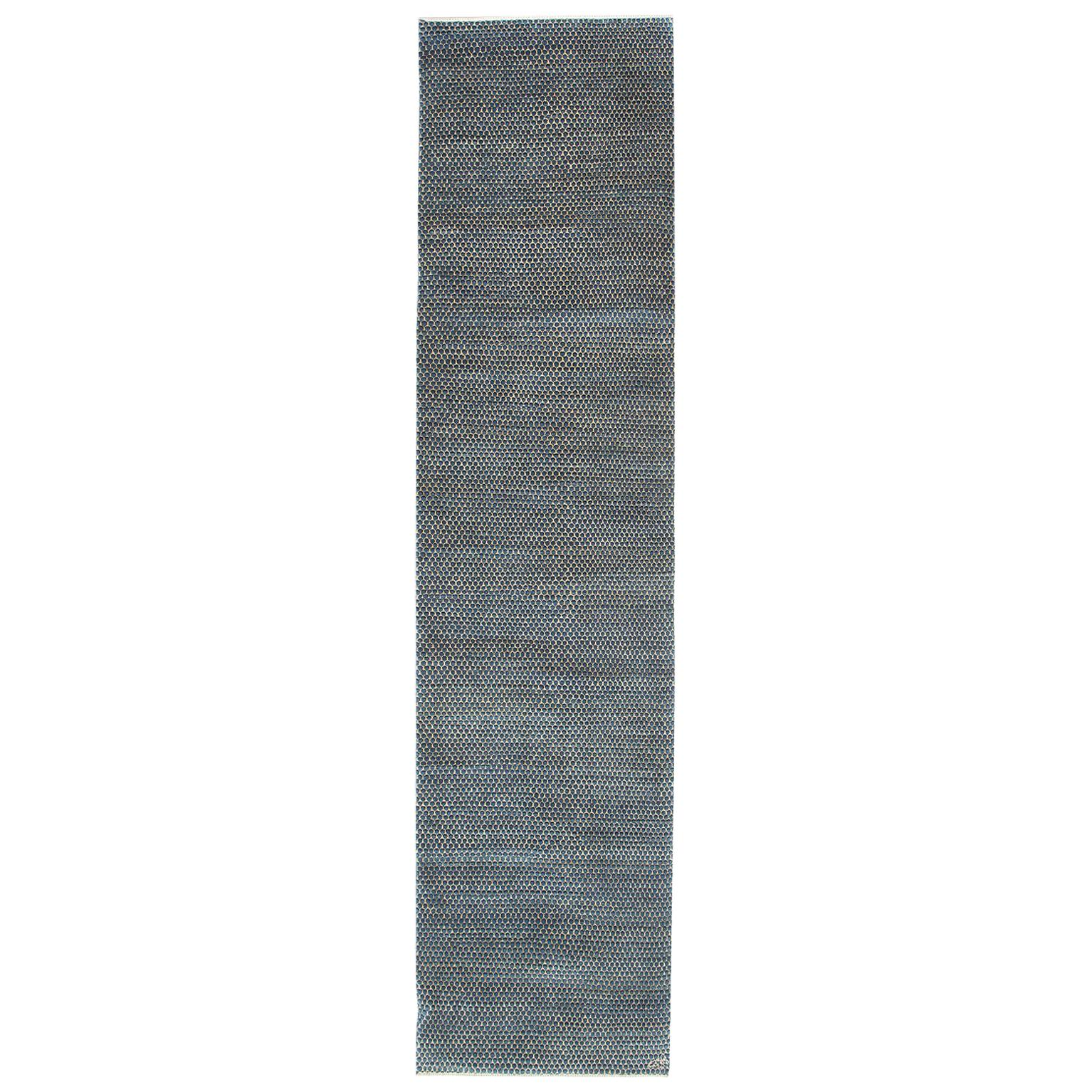 """Contemporary Blue Persian Carpet Runner, """"Droplet"""" by Orley Shabahang in Wool"""