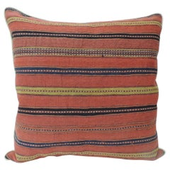 Vintage Colorful Turkish Stripes Woven Grain Sack Square Decorative Pillow