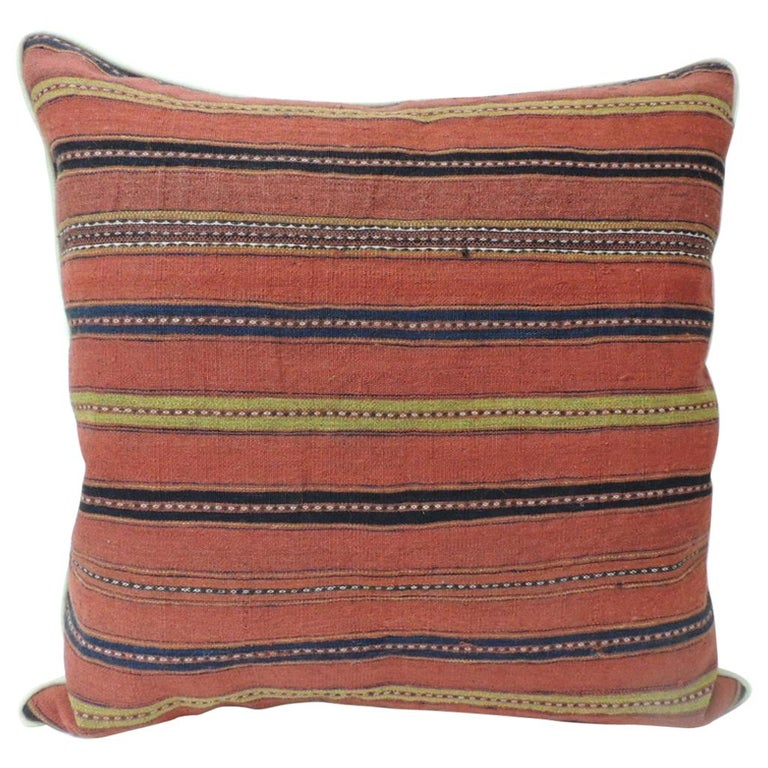 Vintage Colorful Turkish Stripes Woven Square Decorative Pillow For Sale