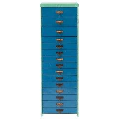 Colorful 1940s Industrial Metal Slide Cabinet