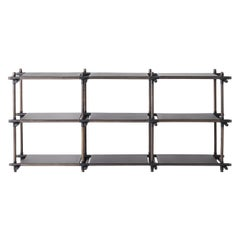 Stick System, Dark Ash Shelves with Black Poles, 3x3