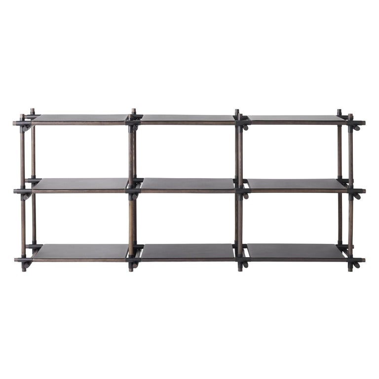 Stick System, Dark Ash Shelves with Black Poles, 3x3 For Sale