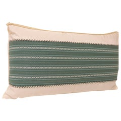 Vintage Japanese Green Obi Decorative Lumbar Pillow