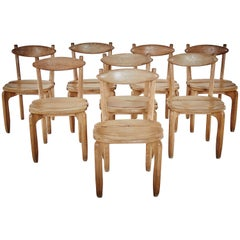 Guillerme and Chambron Midcentury Solid Oak Chairs for Votre Maison, France 1960