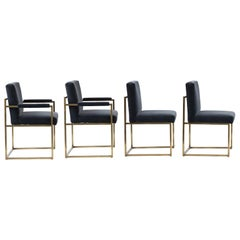 4 Milo Baughman Bronze and Velvet Dining Chairs